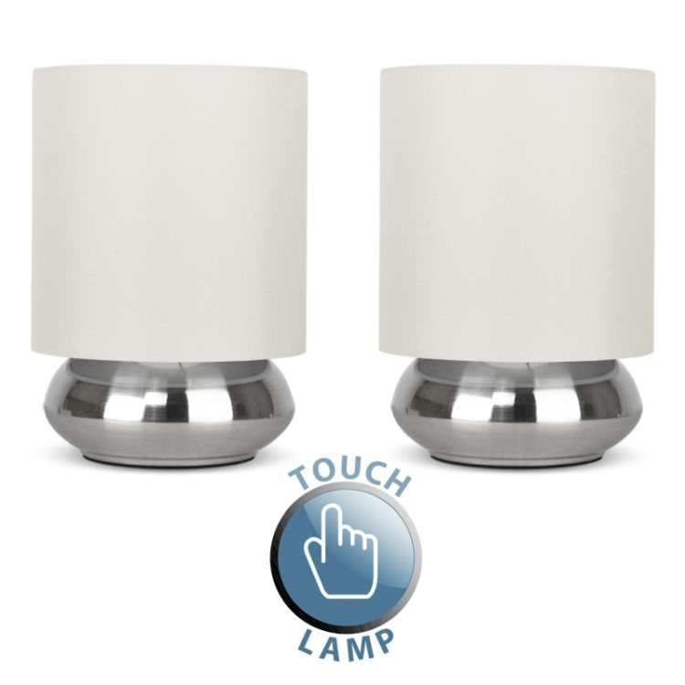 2 Nickel Touch Table Lamps Cream Shades