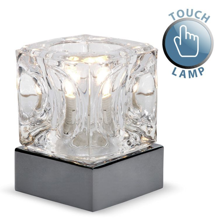 Ice Cube Touch Table Lamp Black Chrome