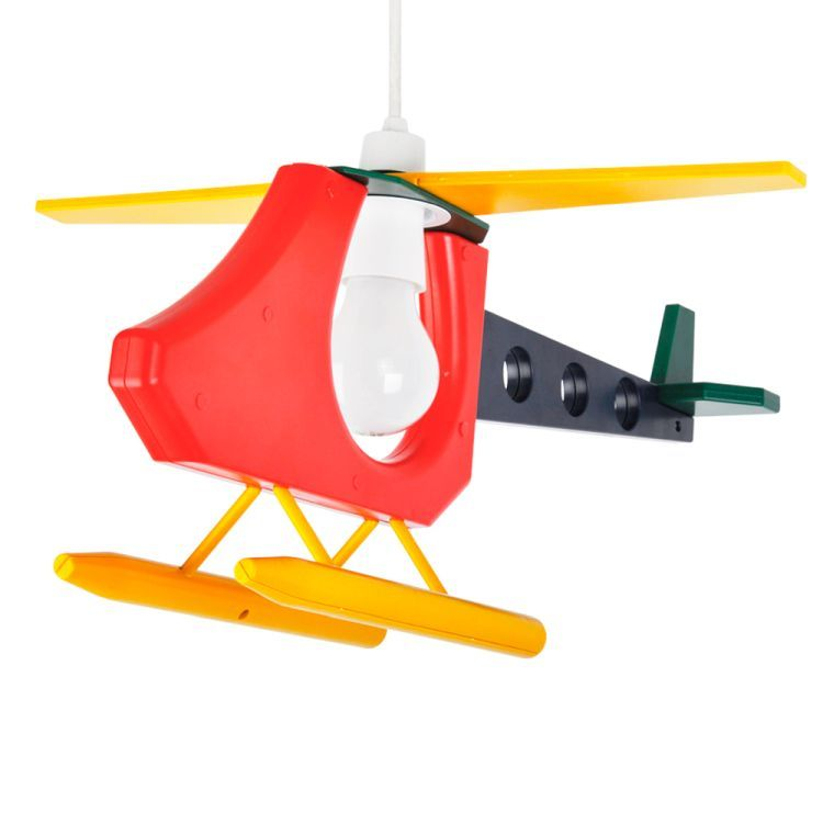 Childrens Helicopter 3D Pendant Shade Multi Coloured