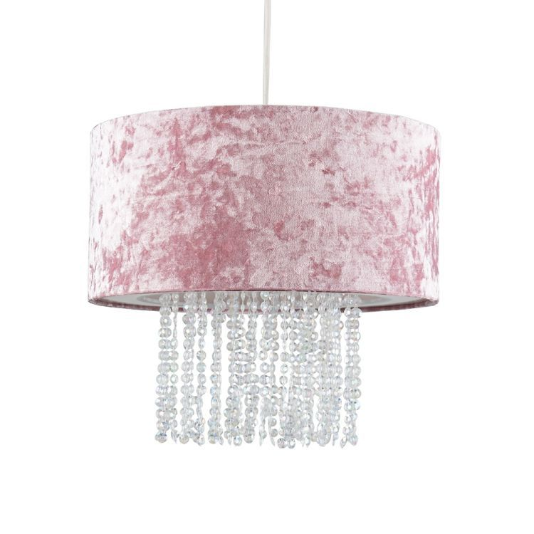 Boland Pink Velvet Pendant Shade Clear Droplets
