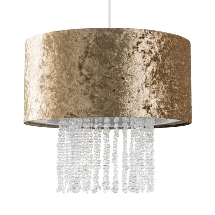 Boland Gold Velvet Pendant Shade Clear Droplets
