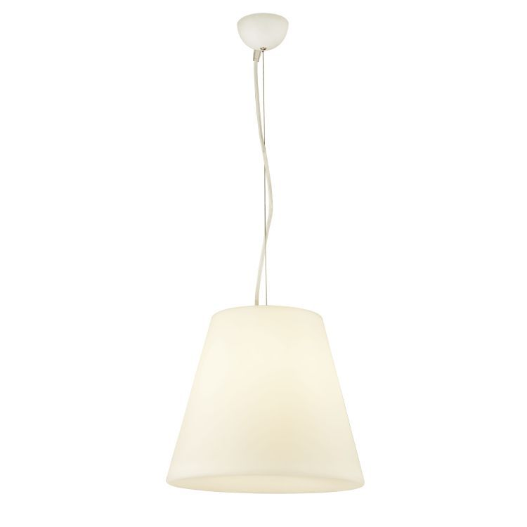 LED Outdoor Pendant, White Pc Tapered Shade