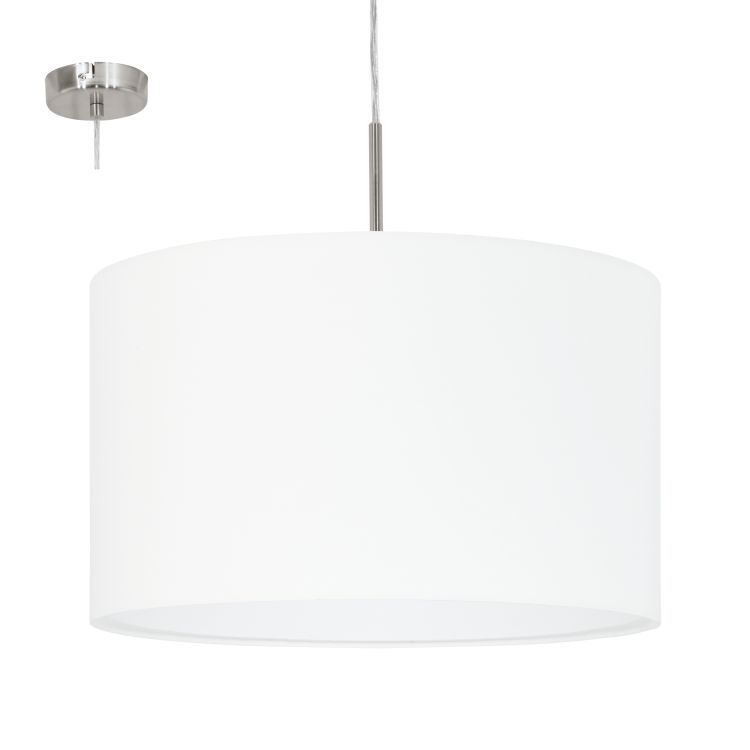 PASTERI Pendant Ceiling Light with White Shade Satin Nickel 31571