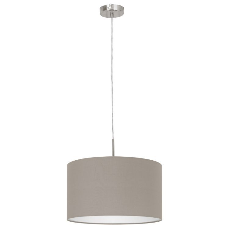 PASTERI Pendant Ceiling Light with Taupe Shade Satin Nickel 31572