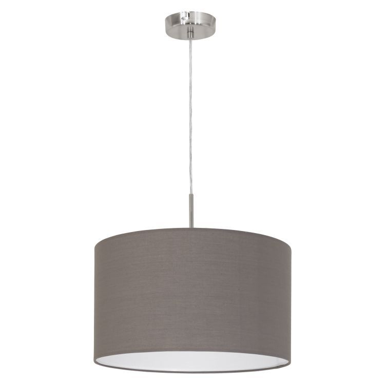 PASTERI Pendant Ceiling Light with Brown Shade Satin Nickel 31574