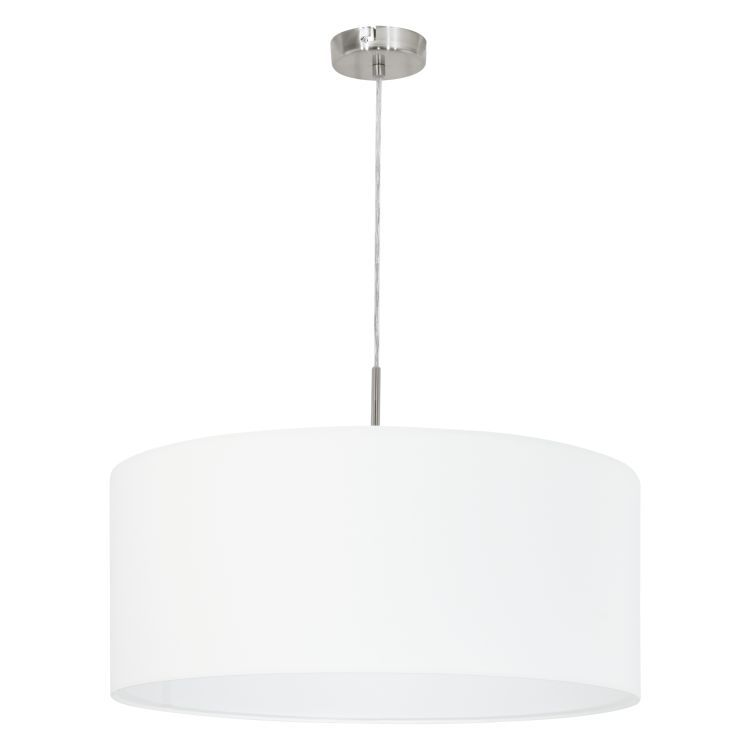PASTERI Pendant Ceiling Light with White Shade Satin Nickel 31575