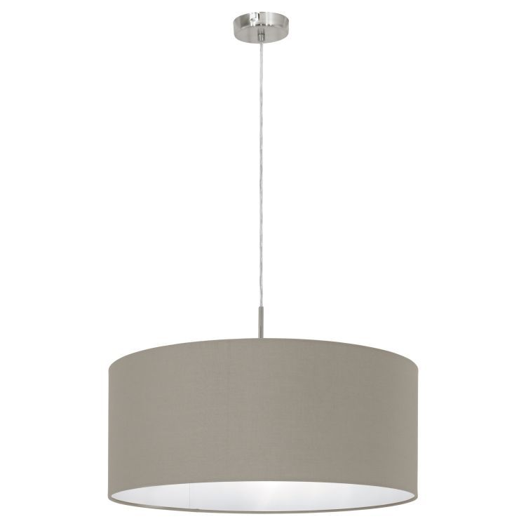 PASTERI Pendant Ceiling Light with Taupe Shade Satin Nickel 31576