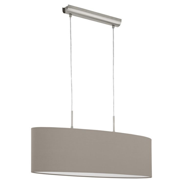 PASTERI 2-Light Pendant Ceiling Light with Taupe Shade Satin Nickel 31581