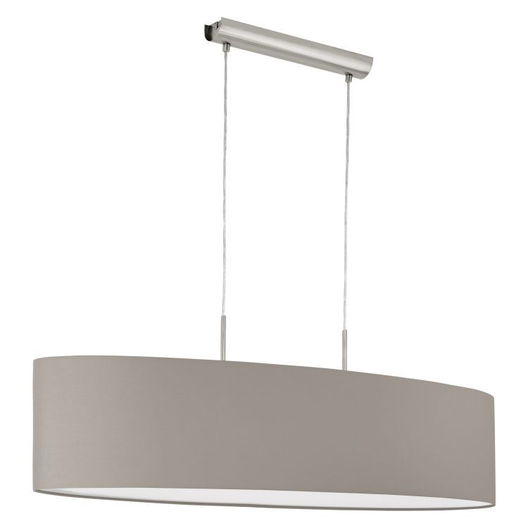 PASTERI 2-Light Pendant Ceiling Light with Taupe Shade Satin Nickel 31585