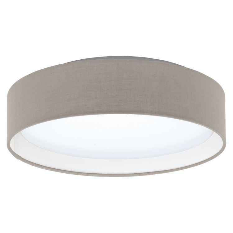 PASTERI Flush LED Ceiling Light with Taupe Shade Satin Nickel
