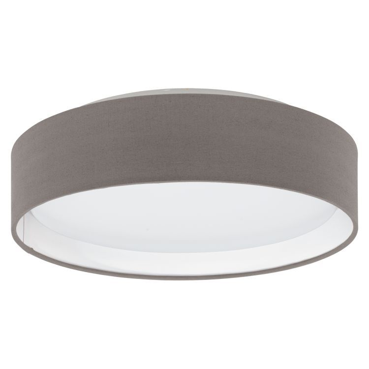 PASTERI Flush LED Ceiling Light with Brown Shade Satin Nickel