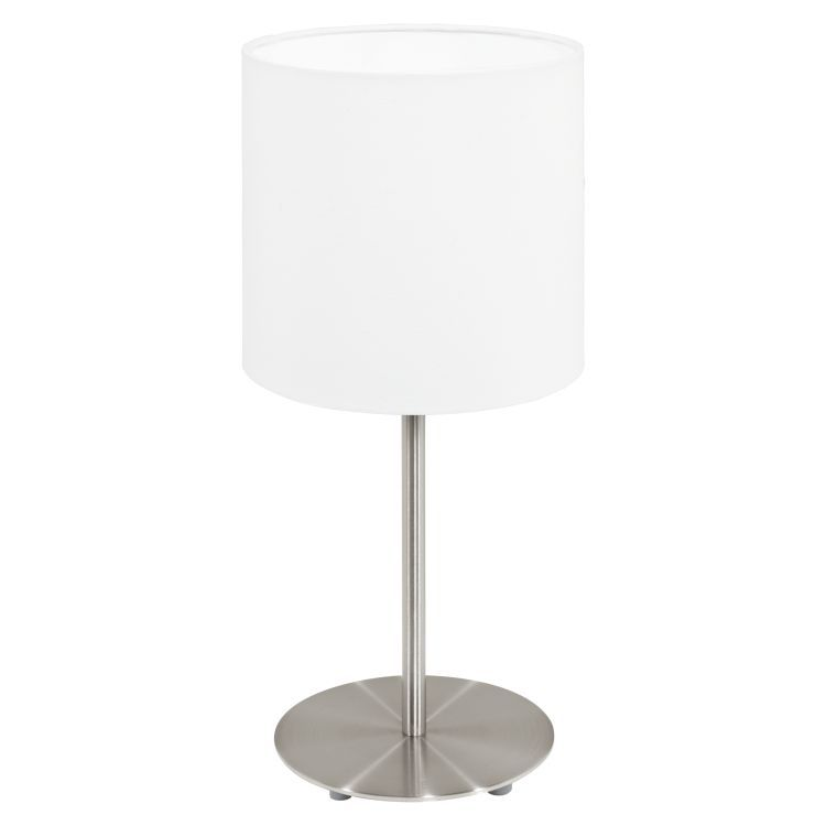 PASTERI Table Lamp with White Shade Satin Nickel