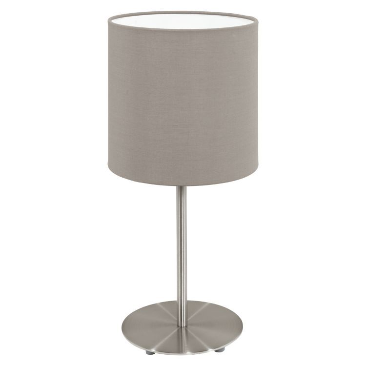 PASTERI Table Lamp with Taupe Shade Satin Nickel