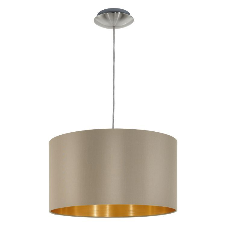 MASERLO Pendant Ceiling Light with Taupe Shade Satin Nickel