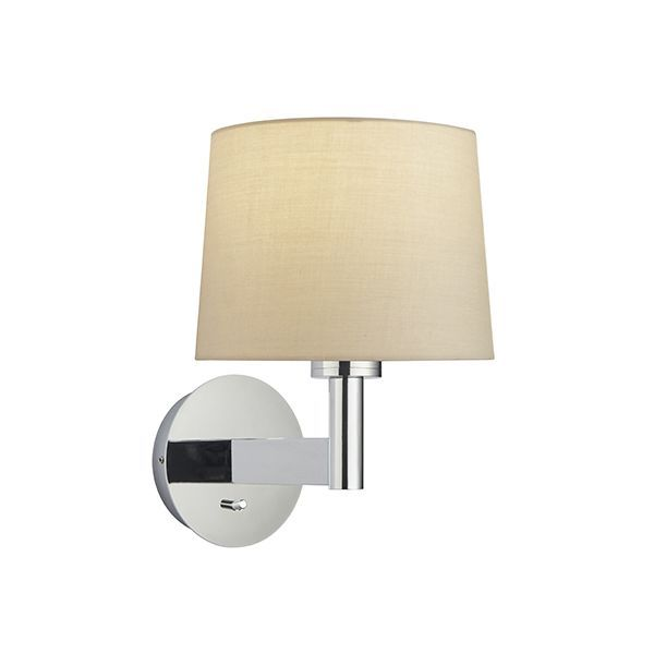 Owen Taper Wall Light Polished Chrome w/ Taupe Shade