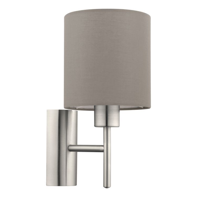 Wall Light with Taupe Shade Satin Nickel