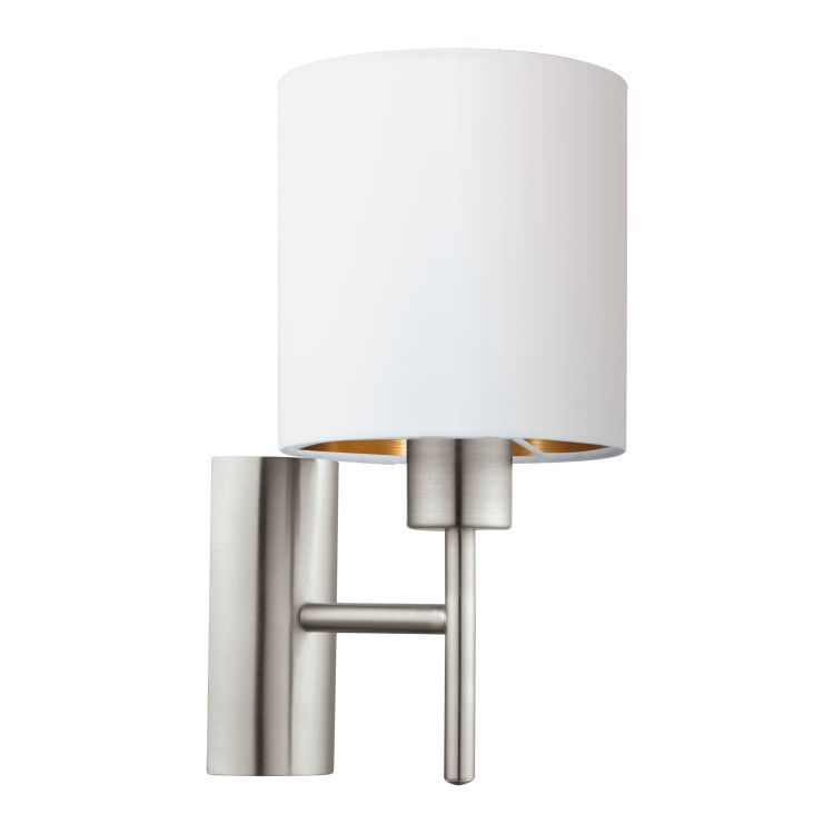 Wall Light with White Shade Satin Nickel 95053