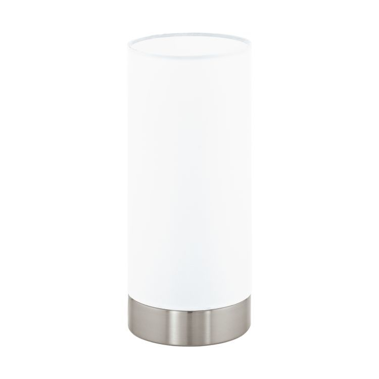 MASERLO Touch Table Lamp with White Shade Satin Nickel