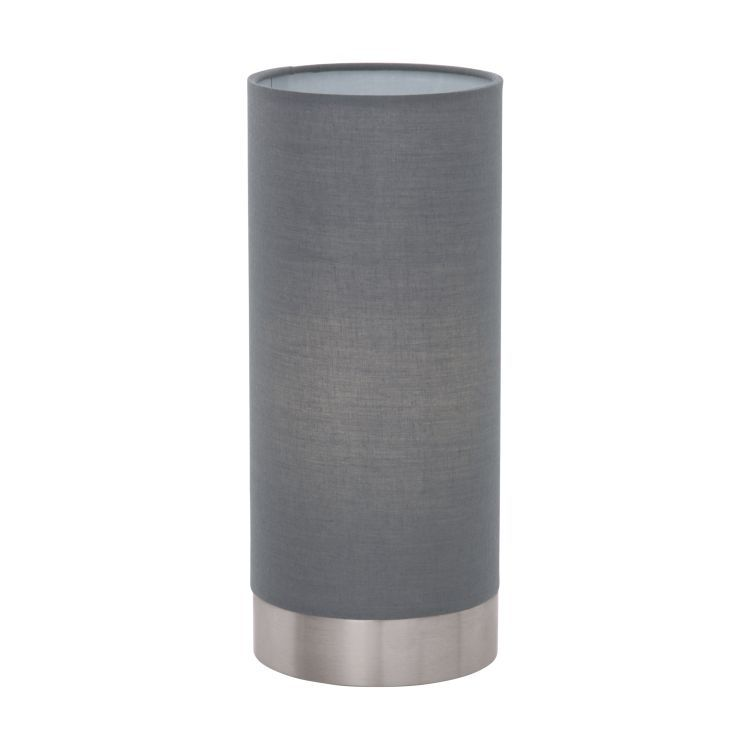MASERLO Touch Table Lamp with Grey Shade Satin Nickel