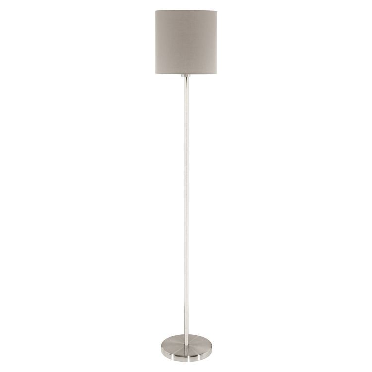 Floor Lamp with Taupe Shade Satin Nickel