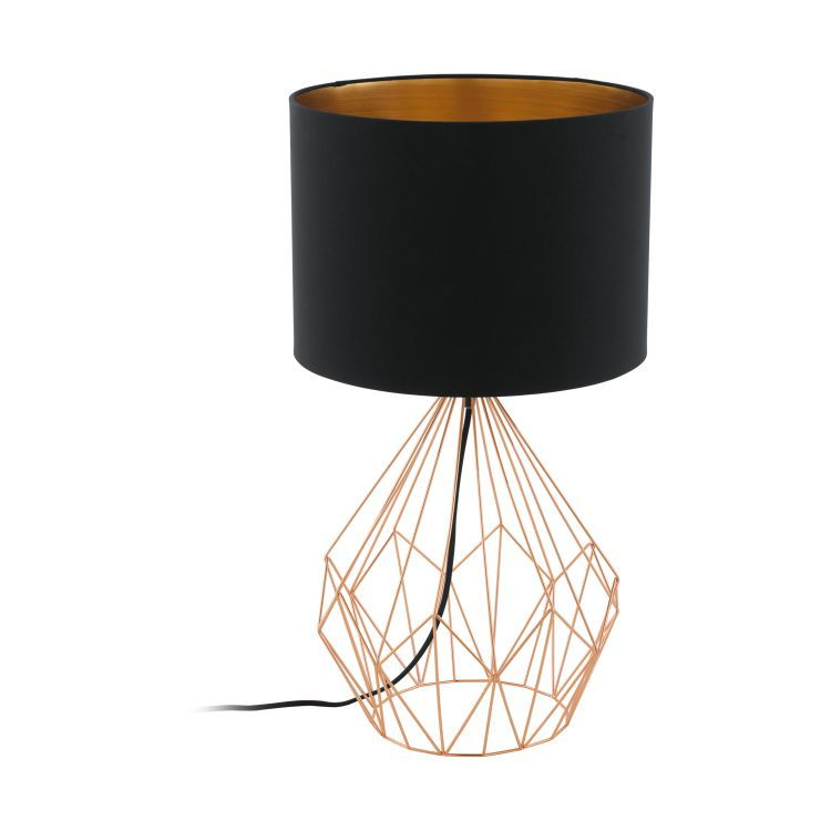 PEDREGAL 1 Table Lamp with Black Shade Copper
