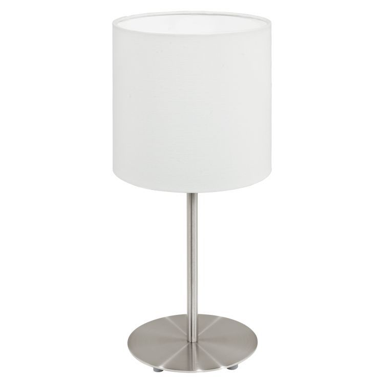 Table Lamp with White Shade Satin Nickel 95725