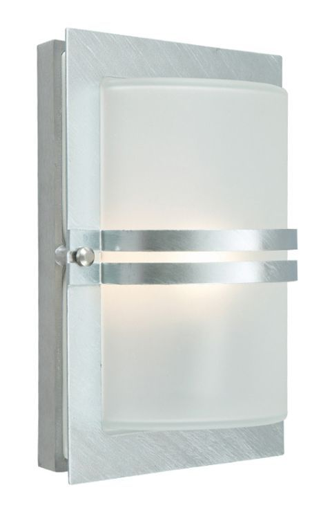 Basel Outdoor Wall Light Galvanised Frosted