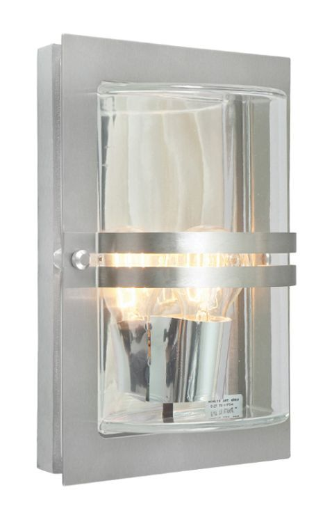 Basel Outdoor Wall Light Stainless Steel Clear