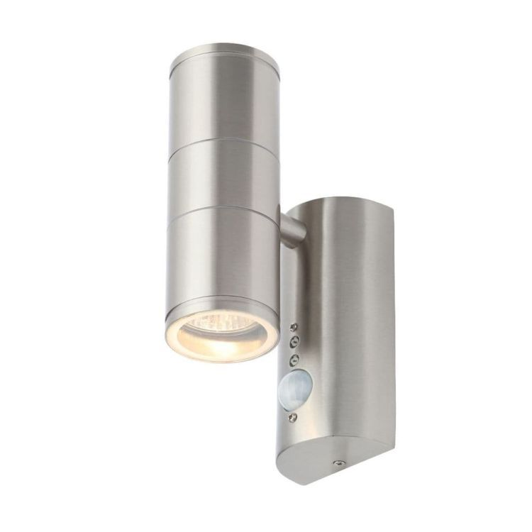 Islay PIR Up/Down Wall Light in Satinless Steel Finish