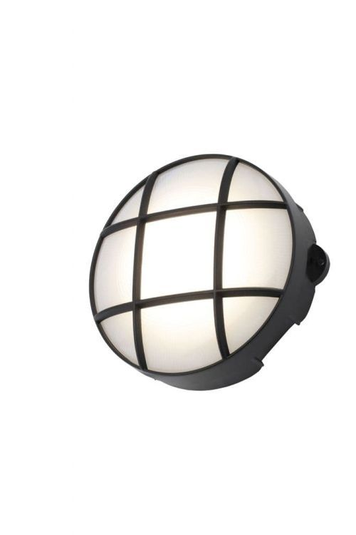 Capella Round Grid Bulkhead, Small in Black Finish