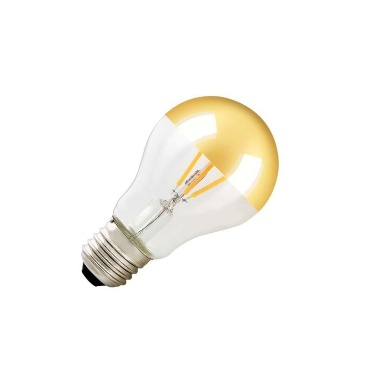 LED lamp with mirrored head, G125, E27, gold, 200lm, 180°, dimmable