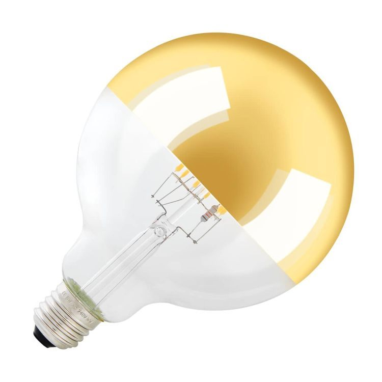 LED lamp with mirrored head, G125, E27, 2000K - 2900K, 400lm, 280°, dimmable, gold