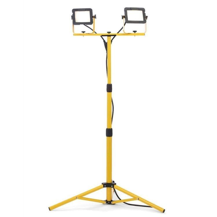 Twin LED Work Light with Tripod in Yellow Finish